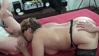 Mature wife fucks with her husband and friend